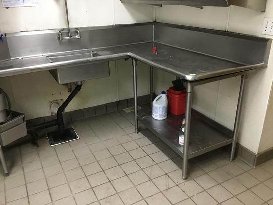 Stainless Steel Prep Table with Built in Sink