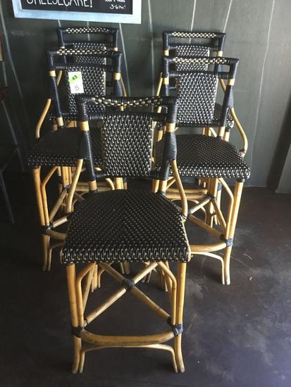 (5) Wicker and Bamboo Bar Height stools