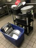 Rolling Plastic Cart with Assorted Commercial Kitchen Smallwares