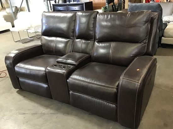 Cheers Leather Power Reclining Loveseat