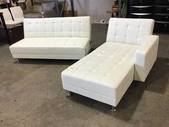 Lot of (2) Custom Rosina White-Leather Sleeper Pieces