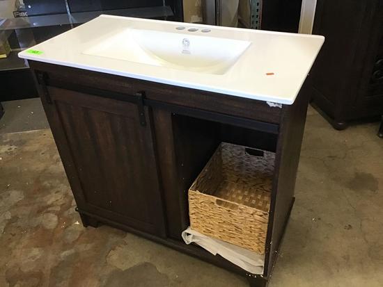 "Gracie Oaks Trogdon Sliding Barn Door 36"" Single Bathroom Vanity Set"