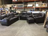 4-Piece Brown Leather Sofa, Loveseat, Chair and Ottoman Set