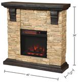Home Decorators Collection Highland 40in. Faux Stone Mantel Electric Fireplace in Tan