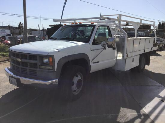 2002 Chevrolet C3500HD DRW 12Ft. Flatbed with Bed Mounted Fuel Tank and Electric Pump Side Boxes