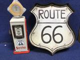 (2) Decorative Metal Route 66 Sign With Lights and Route 66 Gas Pump Clock