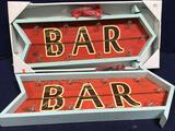 (2) Wooden Bar Arrow Signs With Lights