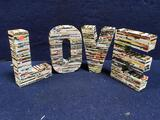 Love Table Decoration Made of Rolled Magazines