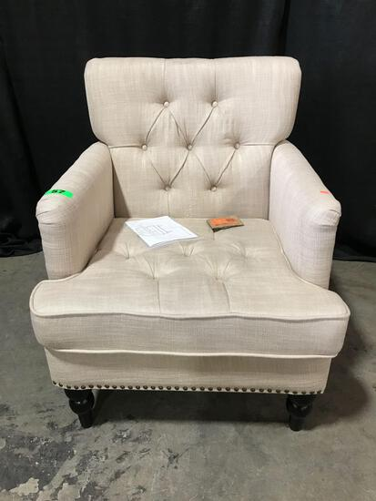 Noble House Malone Beige Linen Tufted Club Chair