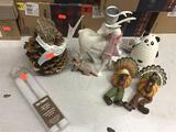 Lot of Assorted Ferny Etc. Holiday Decorations, Pier 1 Flameless LED Taper and Panda Scent Machine