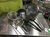 Lot of (6) Assorted Size/Type Metal Strainers