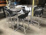 (3) 24in. Metal Bar Height Tables w/(2) Chairs