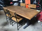 30in x 72in Wood Top Metal Base Table w/(4) Chairs
