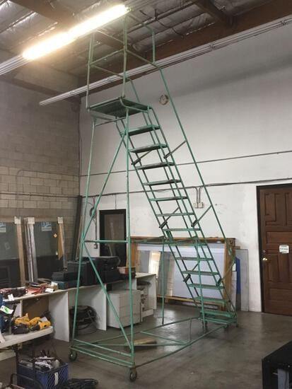 11ft. 14 Step Rolling Warehouse Safety Ladder