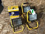 Lot of (4) Yellow Halogen Worklights