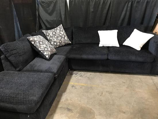 Black ~L~ Shaped Sofa With Pillows