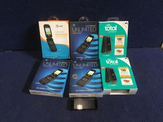 Lot of (6) Assorted Pre-Paid Flip Cell Phones