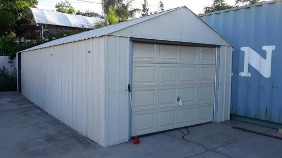 30ft x 12ft Metal Storage Shed with Roll Up Door and Side Access Door