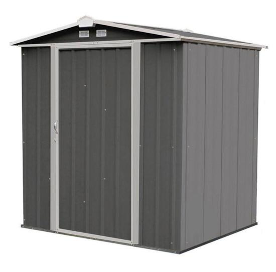 Arrow EZEE Galvanized Steel Low Gable Shed in Charcoal/Cream Trim with Snap-IT Quick Assembly