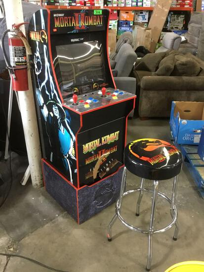 1Up Arcade 3 Game Mortal Kombat Arcade Cabinet with Matching Stool