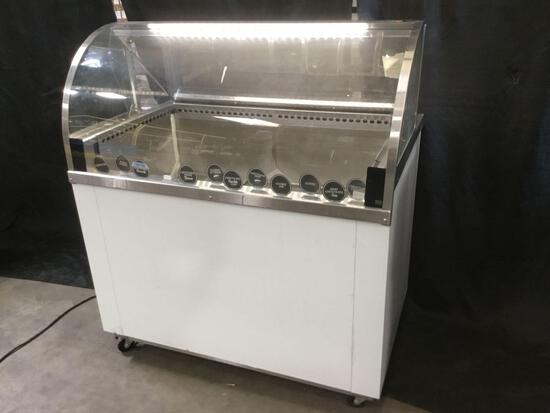 Nelson Mfg. Curved Glass, Low Profile, High Visibility Dipping Cabinet ***GETS COLD***