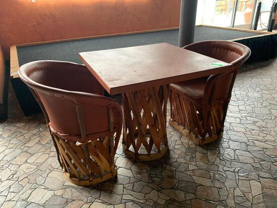 Jalisco Equipale Square Burnt Orange Table w/(2) Matching Cushioned Leather Barrel Chairs