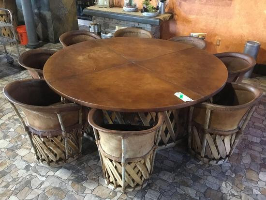 Jalisco Equipale Round Table w/(8) Matching Cushioned Leather Barrel Chairs
