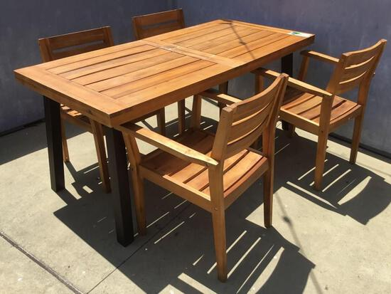 Wooden Outdoor Table w/(4) Wooden Chairs