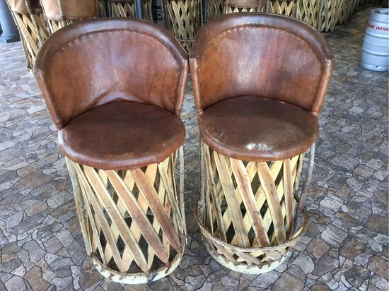 (2) Jalisco Equipale Cushioned Leather Barrel Barstools
