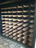 63-Space Metal Wire Wine Rack With Clay Bottle Holders