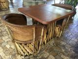 Jalisco Equipale Square Table w/(2) Matching Cushioned Leather Barrel Chairs