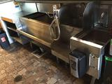 Assorted Glastender UnderBar Storage Equipment and (2) Hand Washing Sinks