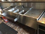Glastender Underbar 3 Compartment Sink Unit