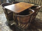 Jalisco Equipale Rectangular Table w/(4) Matching Cushioned Leather Barrel Chairs