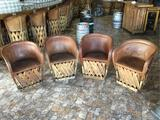 (4) Jalisco Equipale Cushioned Leather Barrel Chairs