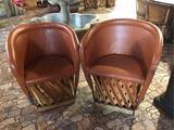 (2) Jalisco Equipale Burnt Orange Barrel Chairs