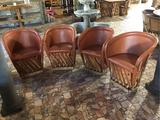 (4) Jalisco Equipale Burnt Orange Barrel Chairs