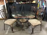 Round 4ft Glass Dining Table with (4) Matching Chairs
