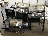 Lot of (3) Damaged Blue Rhino 3 Burner Gas Grills ***DAMAGED/MISSING PARTS/PIECES***