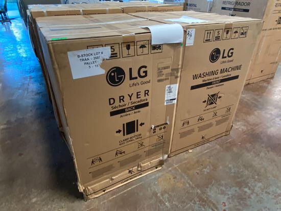 LG 9.0 cu. ft. Large Electric Dryer and 5.2 cu. ft. Front Load Washer Pair in Graphite Steel*UNUSED*