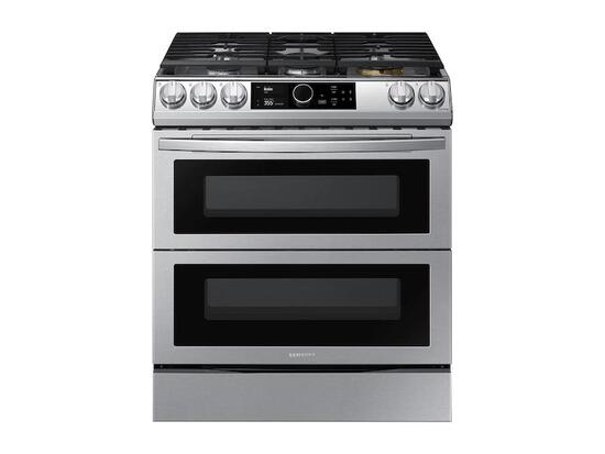 Samsung 30-in 5 Burners Self-Cleaning Air Fry Convection Oven Slide-In Double Oven Gas Range