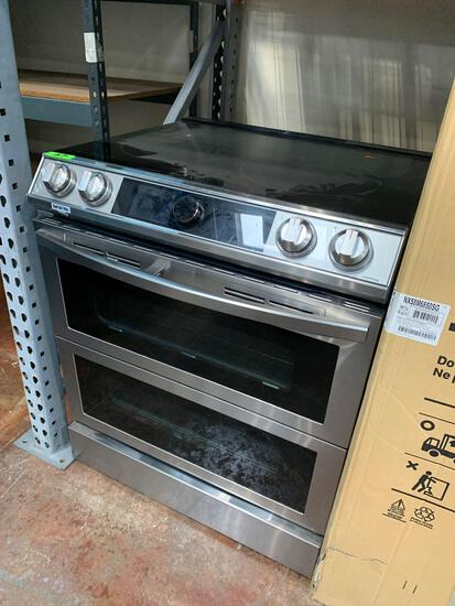 Samsung 6.3 cu ft. Smart Slide-in Electric Range with Smart Dial, Air Fry, & Flex Duo in Stainless
