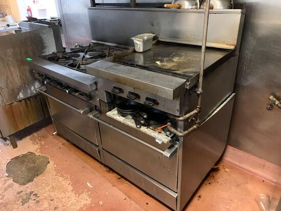 Sun Fire Commercial 6 Burner Gas Cook Top With Dual Ovens and 24in. Griddle