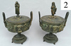 pair bronze compotes by Perrot