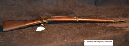 Remington rolling block rifle 8mm cal. N/S
