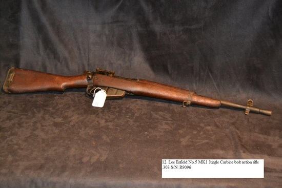 Lee Enfield No.5 MK1 Jungle Carbine bolt action rifle .303 cal. S/N: R9096