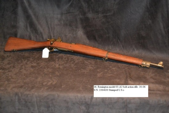 Remington Model 03-A3 bolt action rifle .30-06 cal. S/N: 3384630 Stamped U.S.