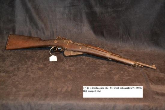 Et ts Continsouza Mle- M16 bolt action rifle S/N: 55089 Bolt stamped BM