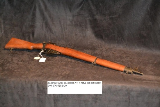 Savage Arms co. Enfield No. 4 MK1 bolt action rifle .303 cal. S/N: 62C1420
