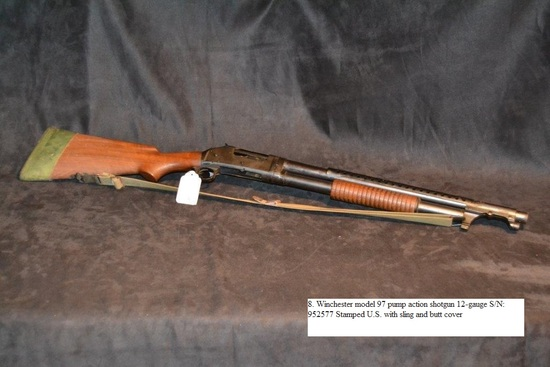 Winchester Model 97 pump action shotgun 12-gauge S/N: 952577 Stamped U.S. with sling and butt cover